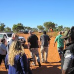 Department of Indigenous affairs stop for a brief chat as they are welcomed through the blockade