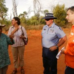 Elsta Foy explaining to Police and Woodside representatives the reason why they should turn around and go back to Broome. MURRANJI PHOTOGRAPHY 2011