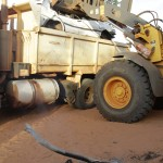 The roadblock vehicle is removed by Broome Shire workers. MURRANJI PHOTOGRAPHY 2011