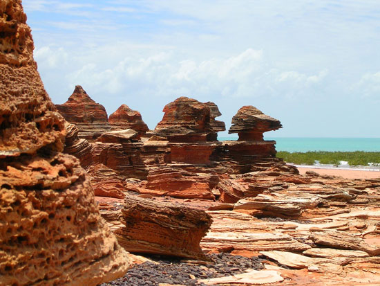 Sedimentary rocks dominate the Broome and Dampier Peninsula region.